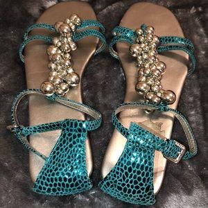 Calvin Klein 'Brandie' Sandals (Jade in color)